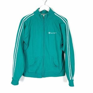Champion Teal with White Stripes Zip Up Ja…